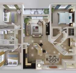 Tile 1 small 3 bedroom house plan 600x500